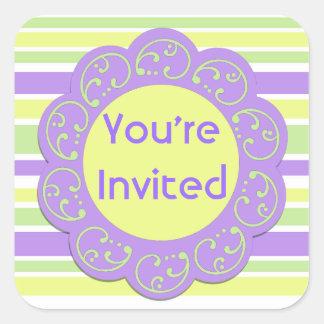 Purple Yellow Striped Party Invites Square Sticker