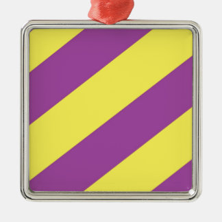 Purple & Yellow Stripes Metal Ornament