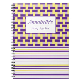 Purple & Yellow Weave Customizable Notebook