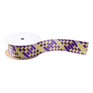 Purple & Yellow Zigzag Weave Pattern Ribbon Satin Ribbon