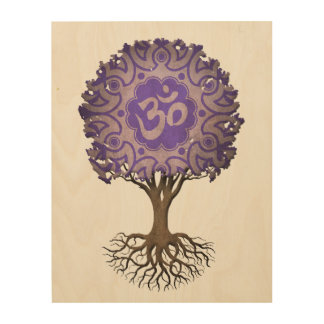 Purple Yoga Om Tree of Life Wood Print
