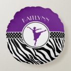 Purple Your Name Zebra Print Ballet Dancer Round Pillow