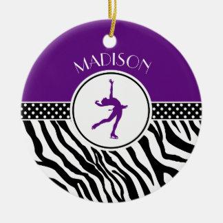 Purple Your Name Zebra Print Figure Skating Round Ceramic Ornament