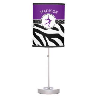 Purple Your Name Zebra Print Figure Skating Table Lamp