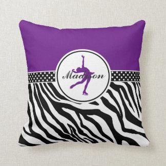 Purple Your Name Zebra Print Figure Skating Throw Pillow
