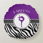 Purple Your Name Zebra Print Gymnastics Round Pillow