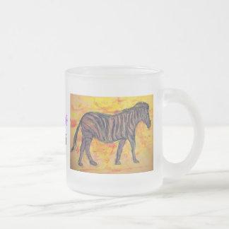 purple zebra art 10 oz frosted glass coffee mug