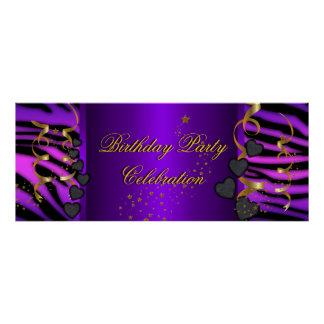 Purple Zebra Banner Birthday Party Celebration Poster