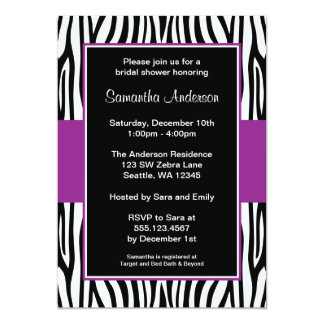 Purple Zebra Bridal Shower Card