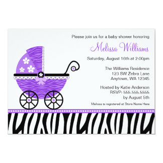 Purple Zebra Carriage Girl Baby Shower Invitations