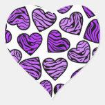 Purple zebra hearts sticker