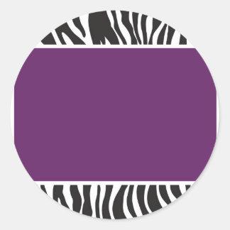 Purple Zebra Invite Round Sticker