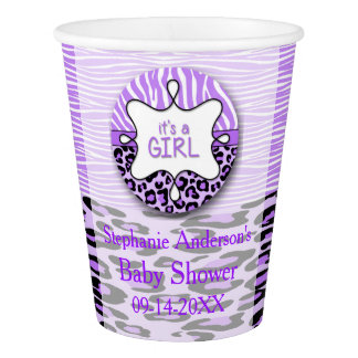 Purple Zebra, Leopard Girl Baby Shower Paper Cups