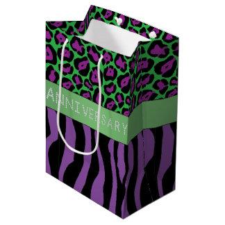 Purple Zebra/Leopard Print Diamond Anniversary Medium Gift Bag