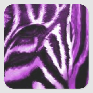 Purple Zebra Print Items Square Sticker