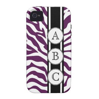 Purple Zebra Print Personalized with 3 Initials Vibe iPhone 4 Case