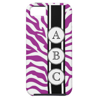 Purple Zebra Print Personalized with 3 Initials iPhone 5 Case