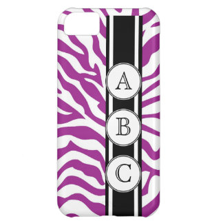 Purple Zebra Print Personalized with 3 Initials Cover For iPhone 5C