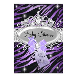 "Purple Zebra Print & Princess Tiara Baby Shower 3.5"" X 5"" Invitation Card"