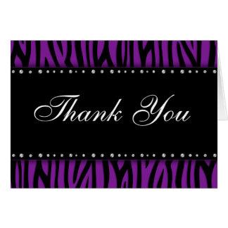 Purple Zebra Printed Diamonds Thank You Card