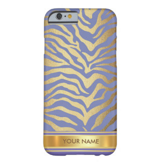 Purple Zebra Skin Blue Gold Glam Barely There iPhone 6 Case