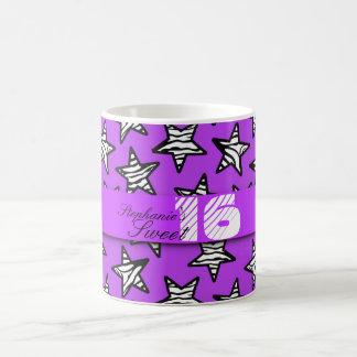 Purple zebra stars Sweet 16 Birthday Mug