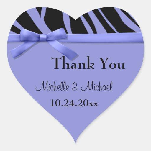 Purple Zebra Stripes And Bow Thank You Sticker