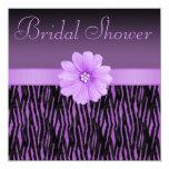 "Purple Zebra Stripes Bling Flower Bridal Shower 5.25"" Square Invitation Card"