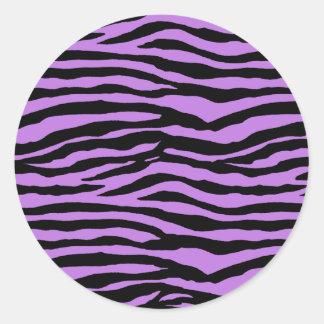 Purple Zebra Stripes Classic Round Sticker