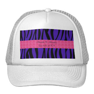 Purple zebra stripes pink roses wedding favors trucker hat
