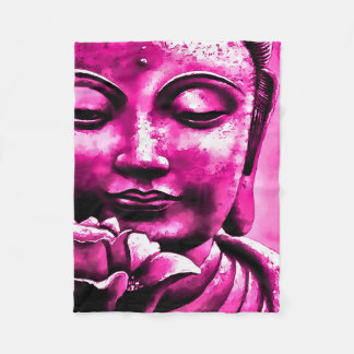 Purple Zen Buddha Watercolor Art Fleece Blanket