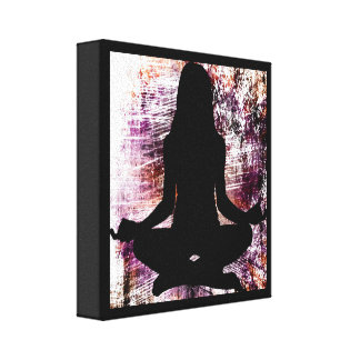 Purple Zen Woman Doing Yoga Meditation Canvas