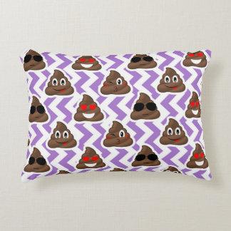Purple Zig Zagged Poop Emoji Pattern Accent Pillow