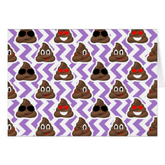 Purple Zig Zagged Poop Emoji Pattern Card