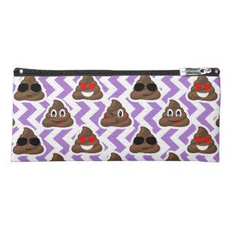 Purple Zig Zagged Poop Emoji Pattern Pencil Case