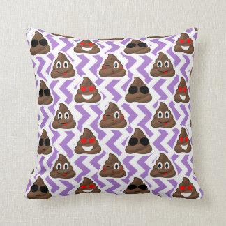 Purple Zig Zagged Poop Emoji Pattern Throw Pillow