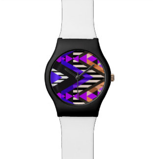 Purple Zigzag Pop Aztec Watches