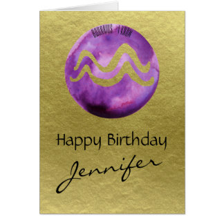 Purple Zodiac Sign Aquarius on Gold Background Card