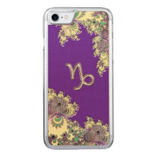 Purple Zodiac Sign Capricorn Fractal Design Carved iPhone 7 Case