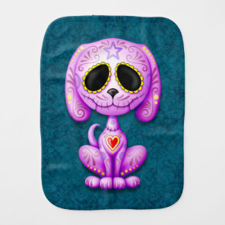 Purple Zombie Sugar Puppy Dog on Blue Baby Burp Cloths