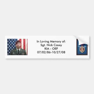 PurpleHeart, Nicks pix 087, In Loving Memory of... Car Bumper Sticker