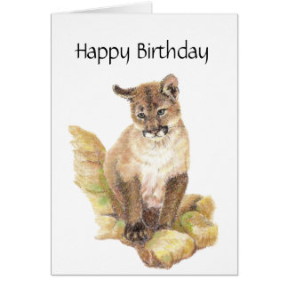 Purr- Fect Birthday, Cougar, Puma, Mountain Lion Card