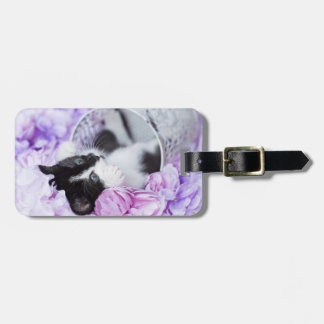 Purr-fect Pippa Purple Floral Luggage Tag