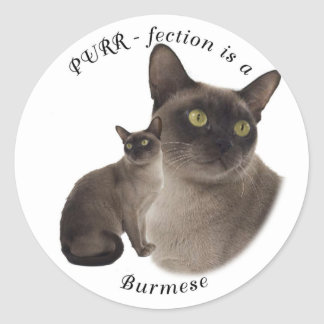 PURR-fection Chocolate Burmese Round Sticker
