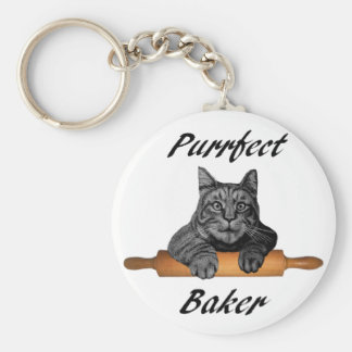 Purrfect Baker Cat Gifts crazy cat lady Basic Round Button Keychain
