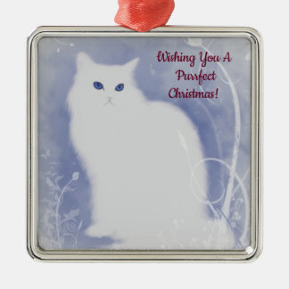 Purrfect Christmas Cat Metal Ornament