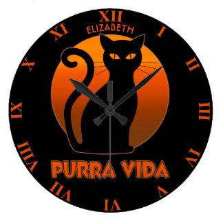 Purring Cat And Sun Purra Vida Pure Life Funny Large Clock