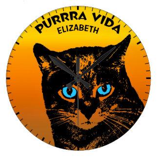 Purring Cat And Sun Purrra Vida Pure Life Cool Large Clock