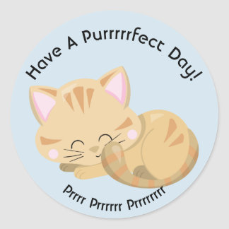 Purring Sleeping Tan Tabby Kitten Classic Round Sticker