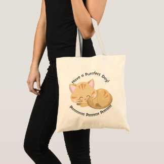 Purring Sleeping Tan Tabby Kitten Tote Bag